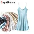 100% Real vestido De Seda Sono Das Mulheres Sólidos Mini vestido de Luxo de Cetim de seda Natural alça Ajustável sleepdress 2017 Nova Primavera
