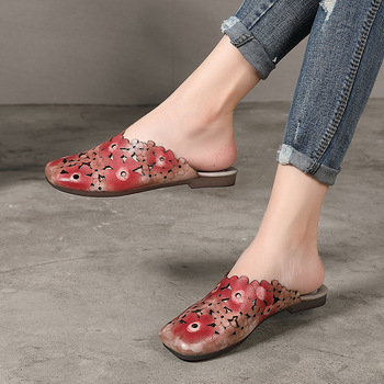 Johnature Genuine Leather Slides Floral Summer Outside Slippers Flat With Totem Simple Comfortable Hollow Women Shoes 5
