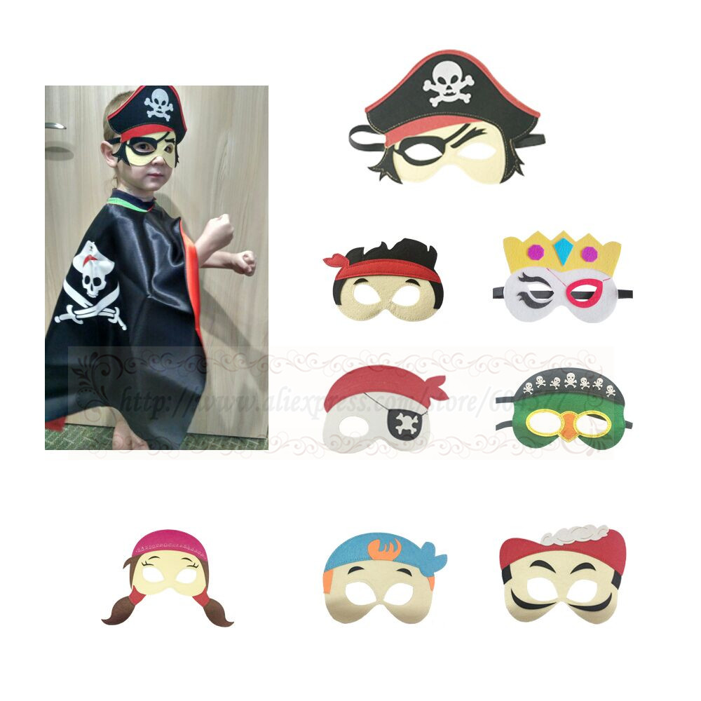 Kids Pirates Costume Masks Boys and Girls Halloween Party Captain Jack Jake Pirate Cosplay Felt Masks