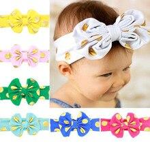 Yunfly Fashion Baby Headbands Cotton Blend Messy Gold Dot Bow Headwrap Big Knit Turban Headband Photo Prop