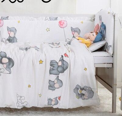 7PCS Baby Bed Bumpers Baby Bedding Sets Children Crib Bedding Set for Baby Bed Sets baby duvet,(4bumper+sheet+pillow+duvet)