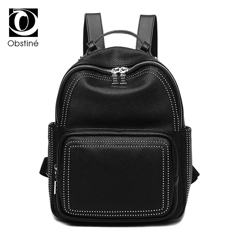 genuine leather backpack for girls cowhide rivet daypacks women waterproof black backpacks galaxy backbag female 2017 bag pack zency genuine leather backpacks female girls women backpack top layer cowhide school bag gray black pink purple black color