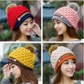Invierno de las mujeres sombrero de lana de punto gorros cap sombreros pompón natural real sólido colores causal sombrero gorra de esquí femenino