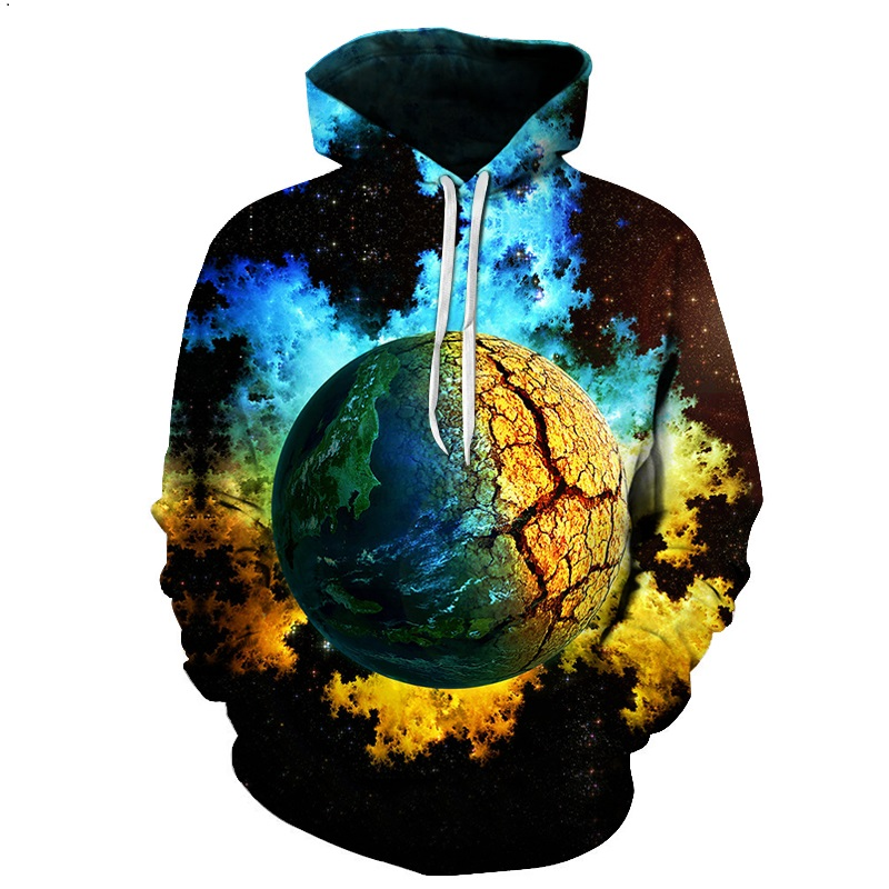 2018 fashion men's and women's 3d hoodies fracturing the earth 3d hoodies love the earth our responsibility begins with this dre