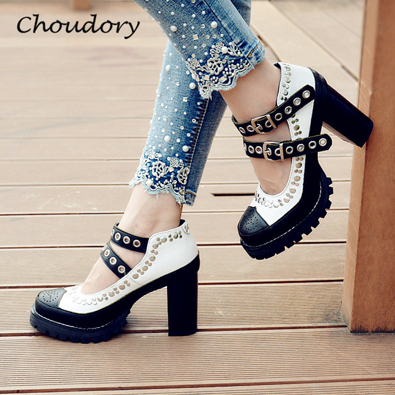 Choudory Fashion Mixed Colors Chunky High Heels Woman Pumps Spring Autumn Buckle Casual Round Toe Shallow Zapatos Mujer Tacon  choudory high heels woman pumps spring autumn flower decoration woman shoes attractive flock pointed toe party zapatos mujer
