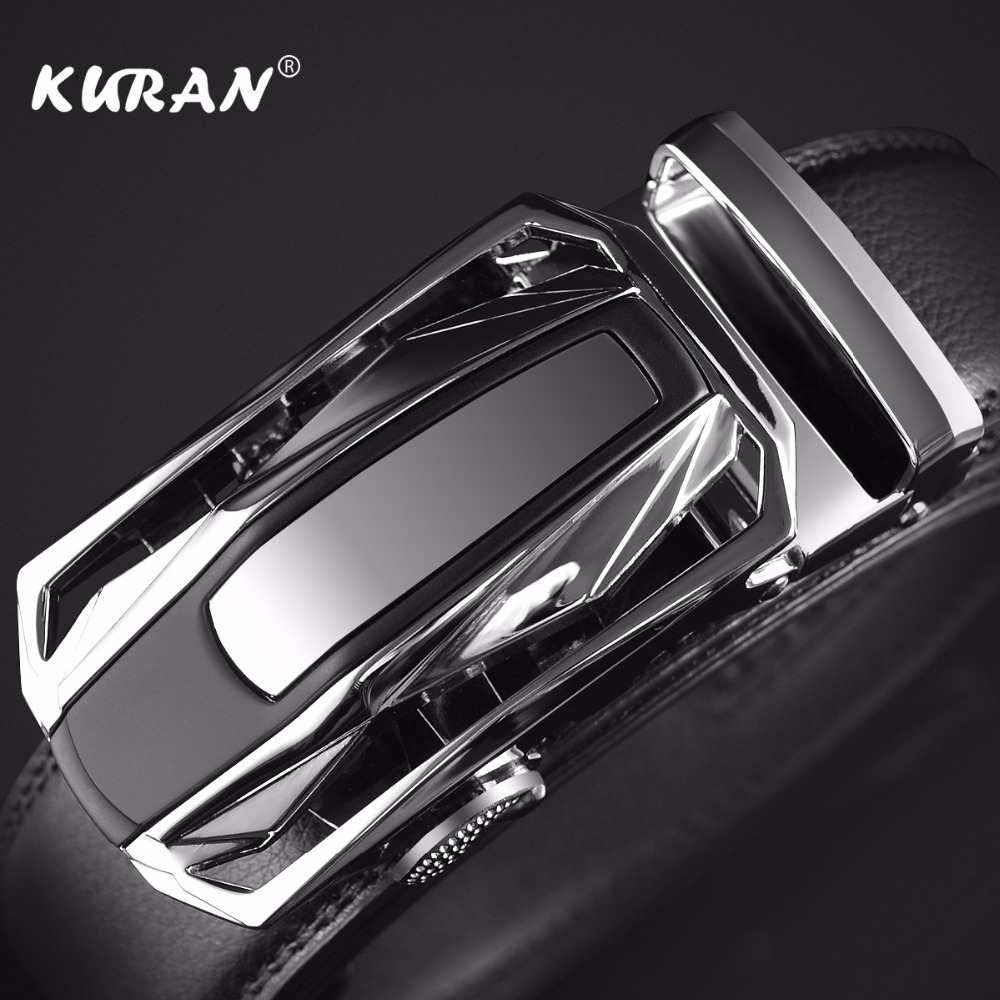 [KURAN] New Brand designer mens   belts   luxury real leather   belts   for men metal buckle man Jeans pants genuine leather   belt   male s