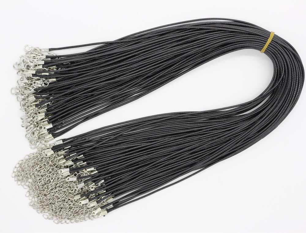 NK697 1 ピース卸売 2.0 ミリメートルホット Collares 新メンズブラック Pu レザーコードネックレス女性の Diy チェーンジュエリー声明ギフト