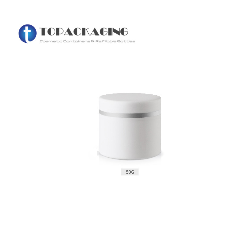 20PCS LOT 50G Cream Jar Double Layer White Frosted Plastic Makeup Container PP Sample Cosmetics Box