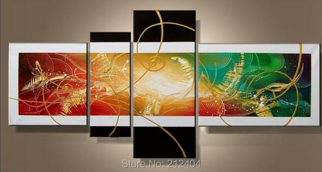 Modern Oil Colorful Paintings Hand Painted Abstract Geometry Canvas Art  Home Decor Multi Panel Wall