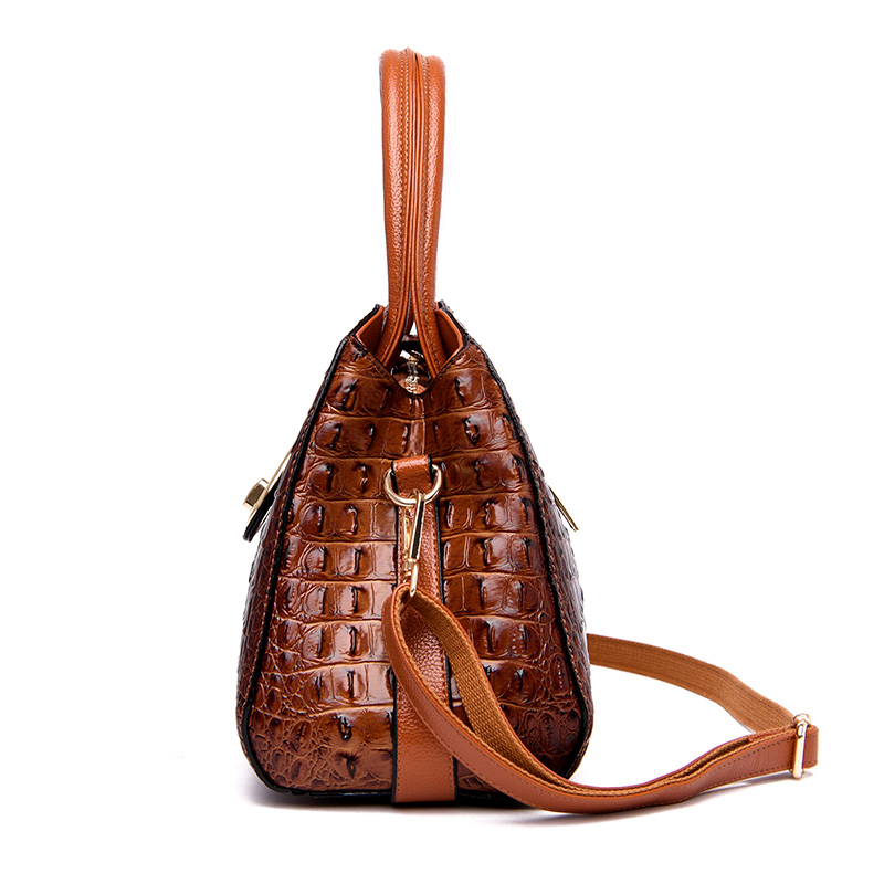 High quality leather women handbags ladies shoulder bag female messenger bags alligator fashion designs high quality Black brown in Shoulder Bags from Luggage Bags