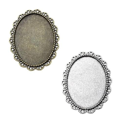 Fit:30x40mm Antique Silver Bronze  Cameo/Glass/Cabochon Frame Bezel Settings,Brooch,DIY Accessory Base Charm 3pcs/lot K04634