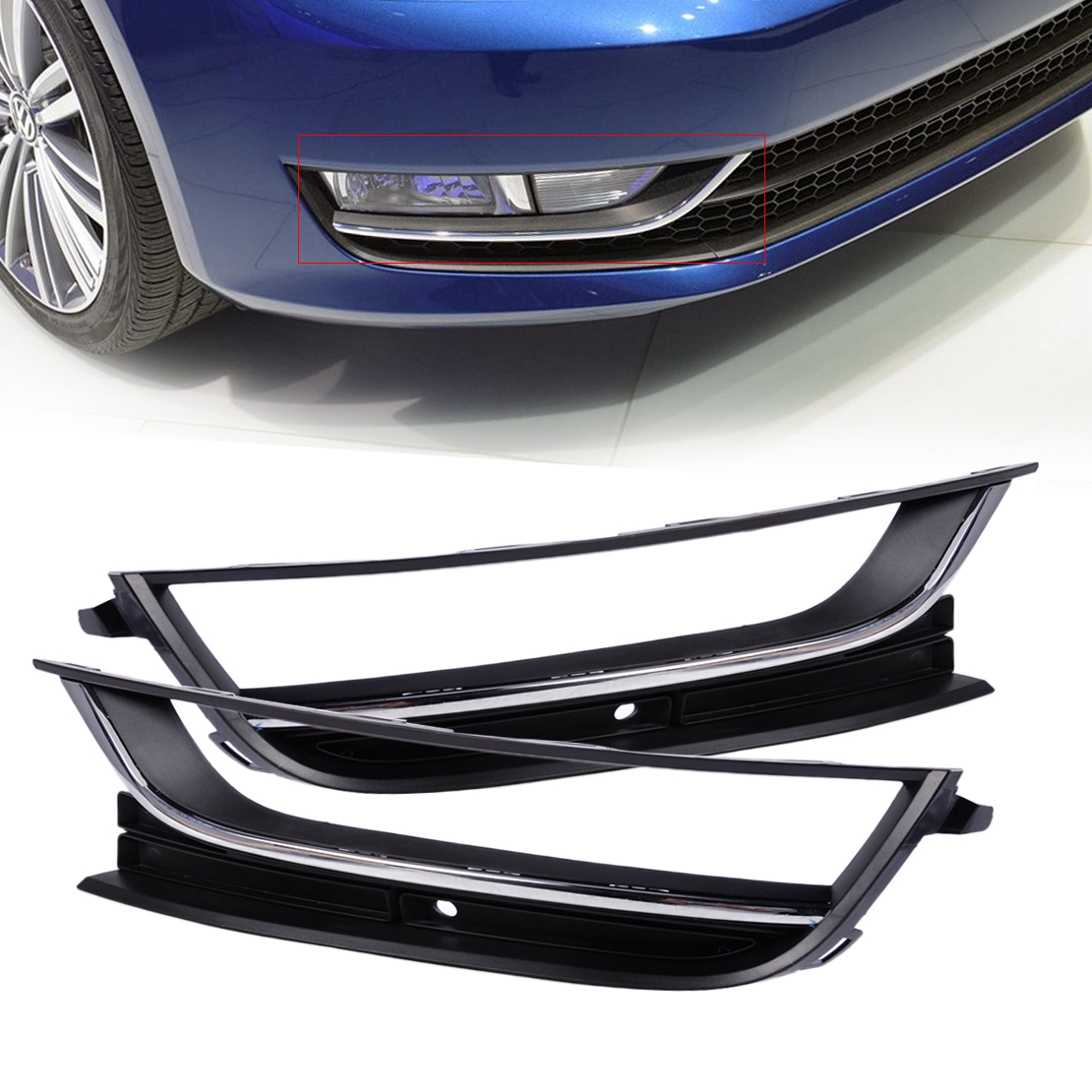 DWCX 56D853665 56D853666 Front Bumper Left + Right Fog Light Lamp Grille for VW Passat NMS 2012 2013 2014 only America Model front bumper fog light with 12v 55w 9006 bulbs for vw passat b6 3c 2006 2011 left right oem 3c0941699b 700b 992
