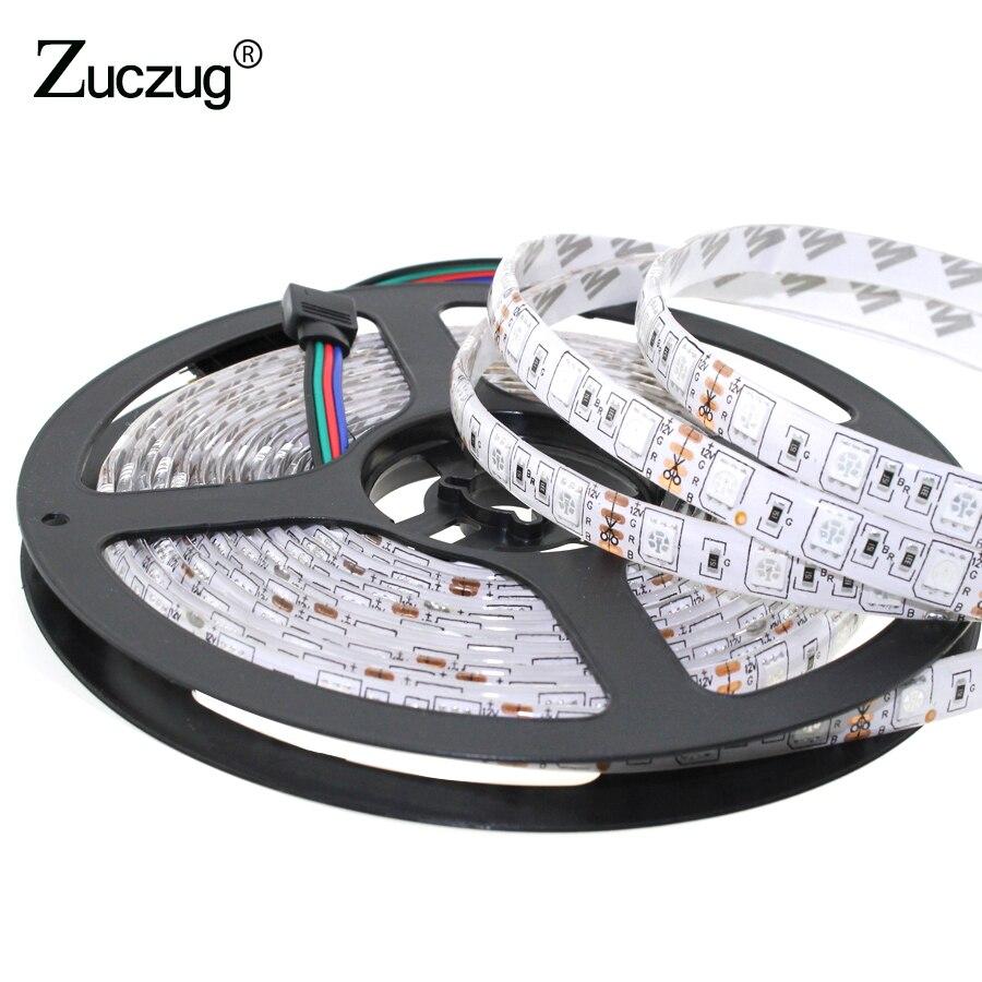 LED Strip 5m/lot 5050 RGB/White/Warm White 12V Light Waterproof 60leds/m 5m Fiexble Light Led Ribbon Tape Home Holiday Decor