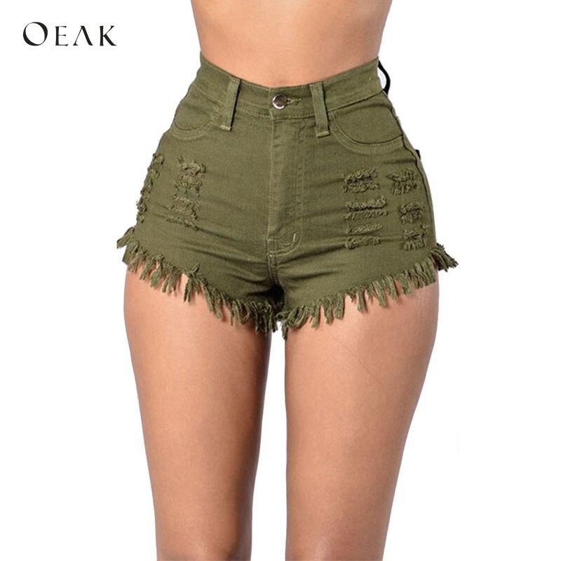 OEAK Denim   Shorts   Women 2018 Fashion Tassel Ripped High Waist Summer   Short   Jeans Sexy Booty   Shorts   Female Slim   Shorts   Trousers