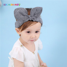 SLKMSWMDJ black and white lattice rabbit ears girl baby cotton hair band children headband princess accessories 1pcs