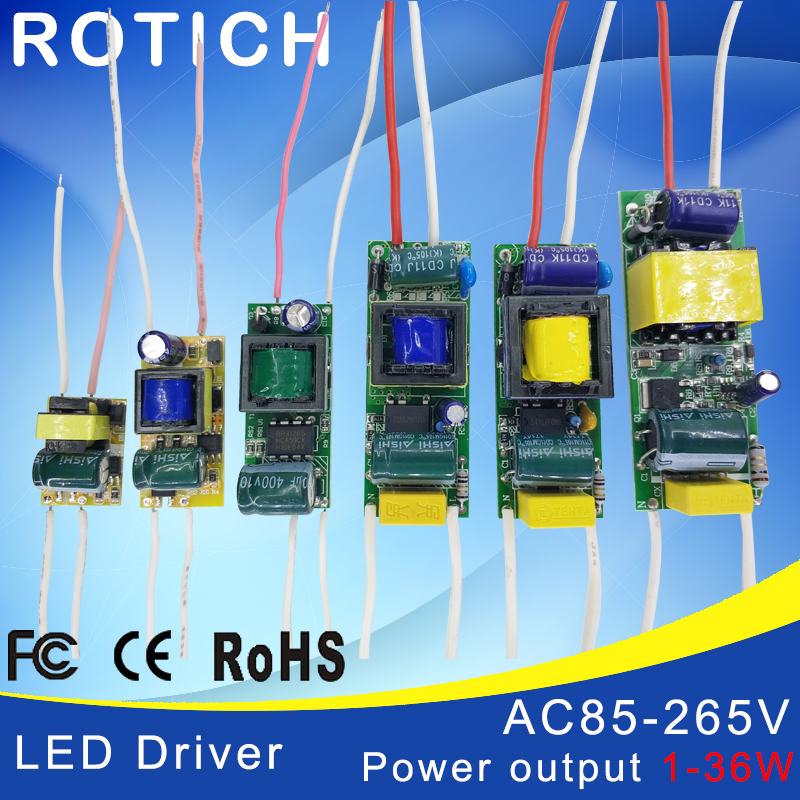 1-3W,4-7W,8-12W,15-18W,20-24W,25-36W LED Driver Power Supply Built-in Constant Current Lighting 85-265V Output 300mA Transformer