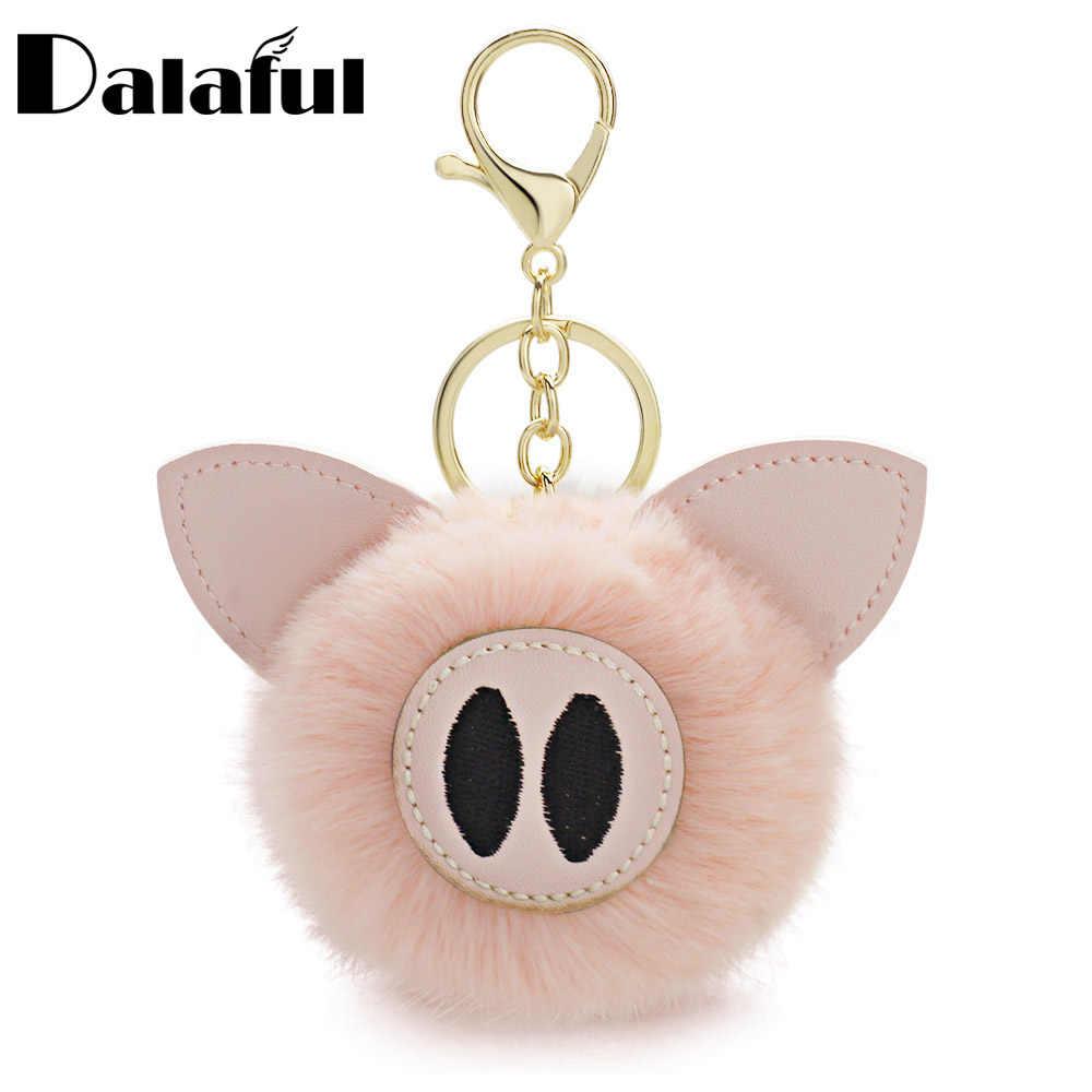 Pompom Dalaful Piggy Porco Chaveiros Chaveiros de Coelho Bola de Pêlo de Coelho Animal Pom Pom K359 Bugigangas Para Chaveiro de Carro de Couro