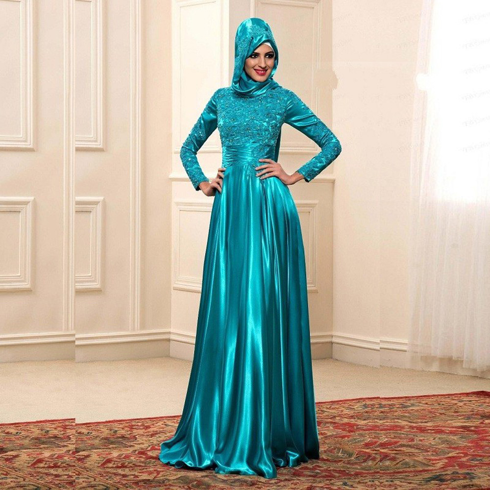 2017 Muslim Evening Dresses A line Full Sleeves Turquoise Islamic ...