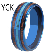 цена Classic Men's Wedding Rings 8mm Blue Tungsten Carbide Ring Koa Wood With Turquoise inlay Rings fashion jewelry Rings for Women онлайн в 2017 году