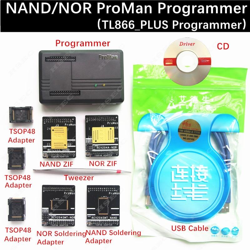 XGecu ProMan Professional nand flash programmer NAND NOR TSOP48 FLASH programmer TL866 PLUS programmer high programming