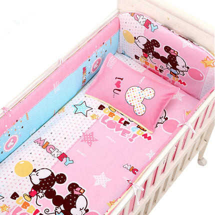 Promotion! 6PCS New Cartoon Baby Newborn Bed Crib Set Children Bedding Boy Girls Kids Cotton,include:(bumper+sheet+pillow cover)