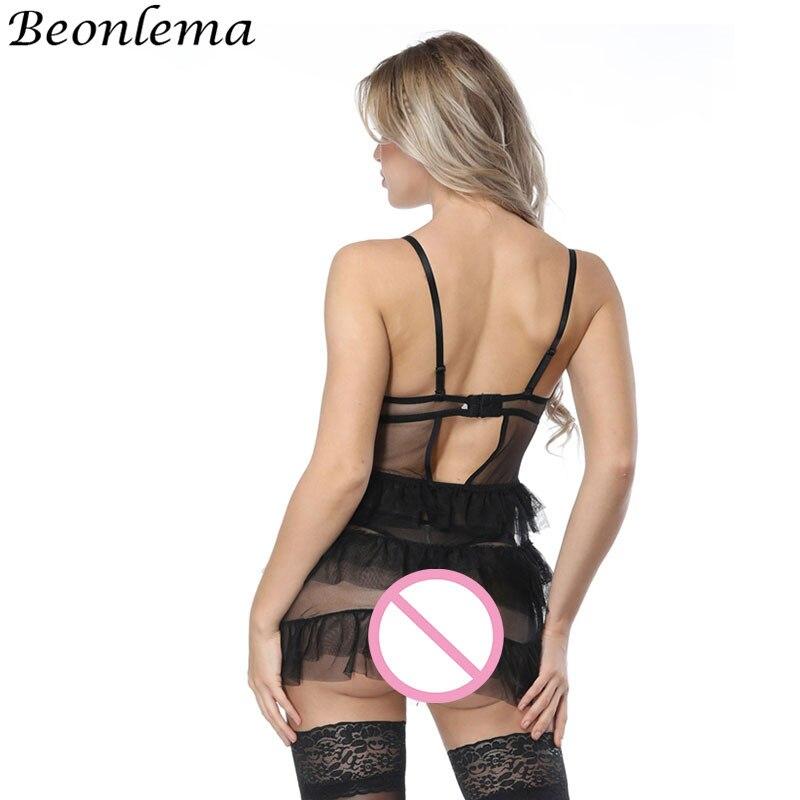 Beonlema Transparent Mesh Lace Corset Sexy Lingerie Dress Tops Half Cup Bustier Skirt Black Bra For Women Backless Dress Bodice