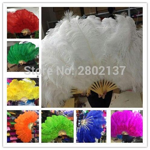 ¡Nuevo! Grandes plumas de avestruz doble ventilador palo de bambú decoración de fiesta de Halloween joyería necesita 12 huesos danza del vientre ventilador DIY-in Pluma from Hogar y Mascotas    1