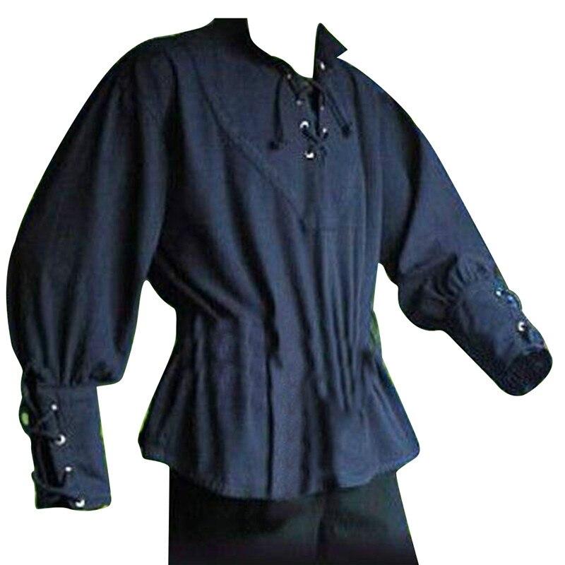 Overhemd Zonder Kraag.Vintage Mannen Shirt Middeleeuwse Stand Kraag Shirts Top Dappere