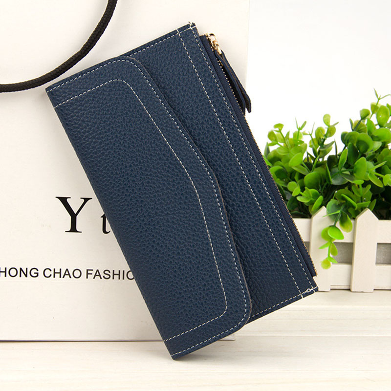 YOUYOU MOUSE Long Section Women 's Wallet Solid Color Multifunction Phone Wallet 2 Fold Large Capacity Zipper Hasp Purse youyou mouse korean style women wallet pu leather 2 fold phone package wallet multi function lovely big eyes pattern wallet