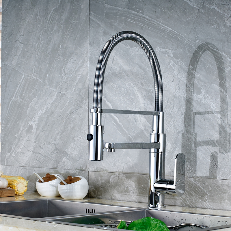 Factory Retail Best Price Chrome Finish Deck Mounted Kitchen Spring Mixer Faucet
