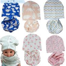 Algodón primavera otoño gato del corazón del bebé head wear cap bufanda dos  pc fija las muchachas de la historieta cuello gorros. cdaa7dcbe3a