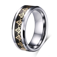 Hot Sale Pure Tungsten Carbide Masonic Rings Wedding Band Mans Anniversary Promise Finger Rings Anillo De