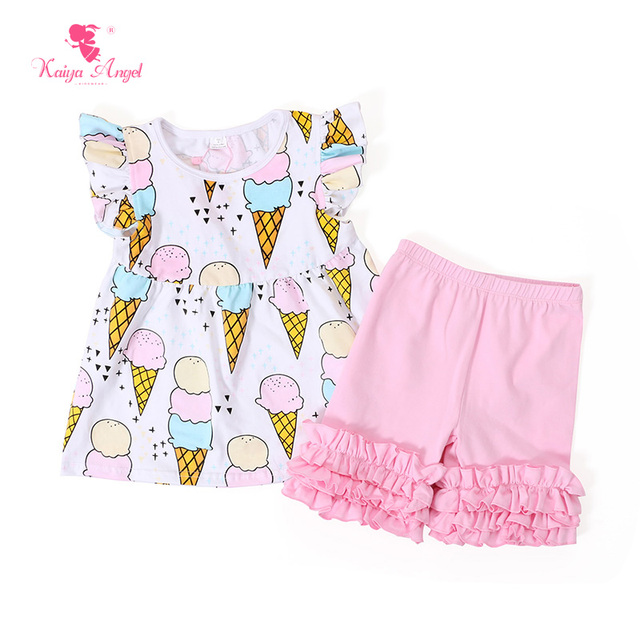 Kaiya Angel Baby Girl Clothes White Ice Cream Outfits Top Shirts