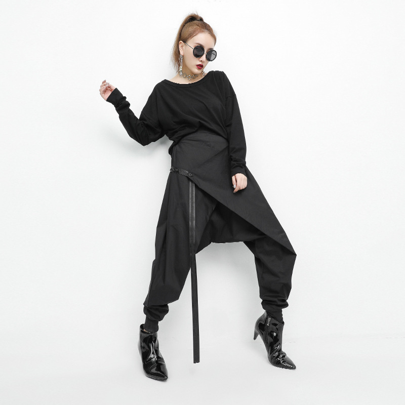[EAM] 2019 Spring Black Loose Elastic Waist Lace Up Spliced Personality Casual Harem Pants Fashion New Women's LA982