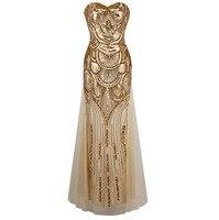 סטרפלס נצנצים בת ים טול תחרה עד ארוך שמלות ערב vestidos de noche כסף זהב 186