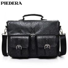 PHEHDERA Multifunction Men Briefcase PU Leather Male Business Handbag Computer Laptop Bags
