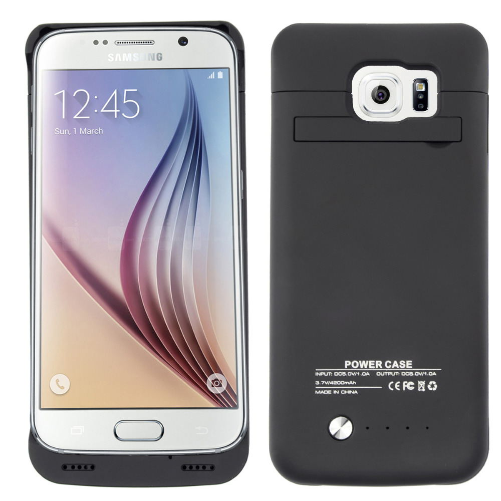 bilder für Neueste 4200 mAh Wiederaufladbare Externe Backup Energienbank Ladegerät Stehen Stoßfall-abdeckung für Samsung Galaxy S6 S 6