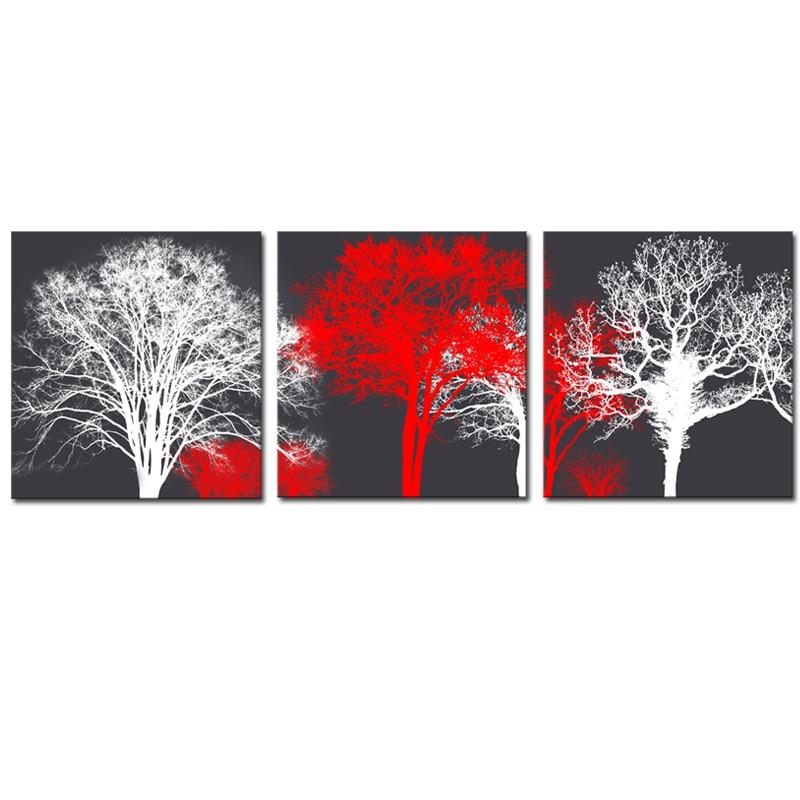 sans cadre 3 panneaux blanc rouge arbres paysage toile. Black Bedroom Furniture Sets. Home Design Ideas