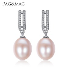 PAG&MAG Brand 10-11mm Freshwater Pearl Hanging Earrings 925-Sterling-Silver Women Big Stud Earrings Party Gift for Box Free