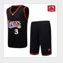 Айверсон 3# Джерси баскетбольный костюм набор винтажная вышивка Молодежная серия №3 баскетбольный костюм черный белый подлинный