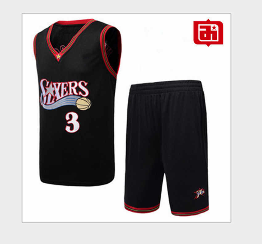 new york f5faf 8cafd Iverson 3# Jersey Basketball Suit Set Vintage Embroidery ...