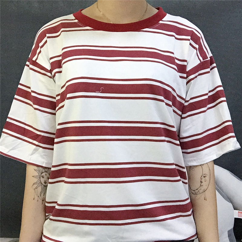 2019 college harajuku lose striped t shirt frauen kurzarm hit farbe - Damenbekleidung - Foto 2