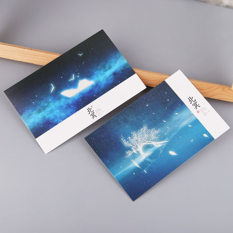 30pcs Vintage Luminous Postcard Glow In The Dark Looking At The Light Greeting Post Card Novelty Xmas Greeting Cards Gift 10166