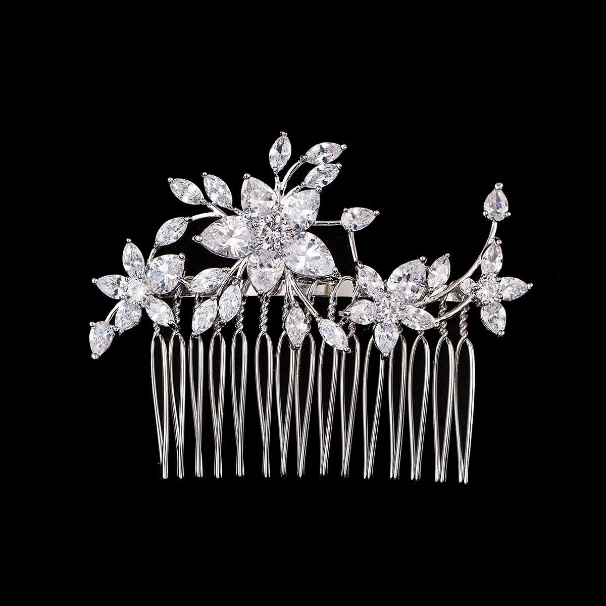 Cubic Zirconia Hair Comb Flower Clip CZ Women Hair Jewelry For Bride Wedding Hair Accessories Pince Cheveux 5.8x7.4cm WIGO1082 цена