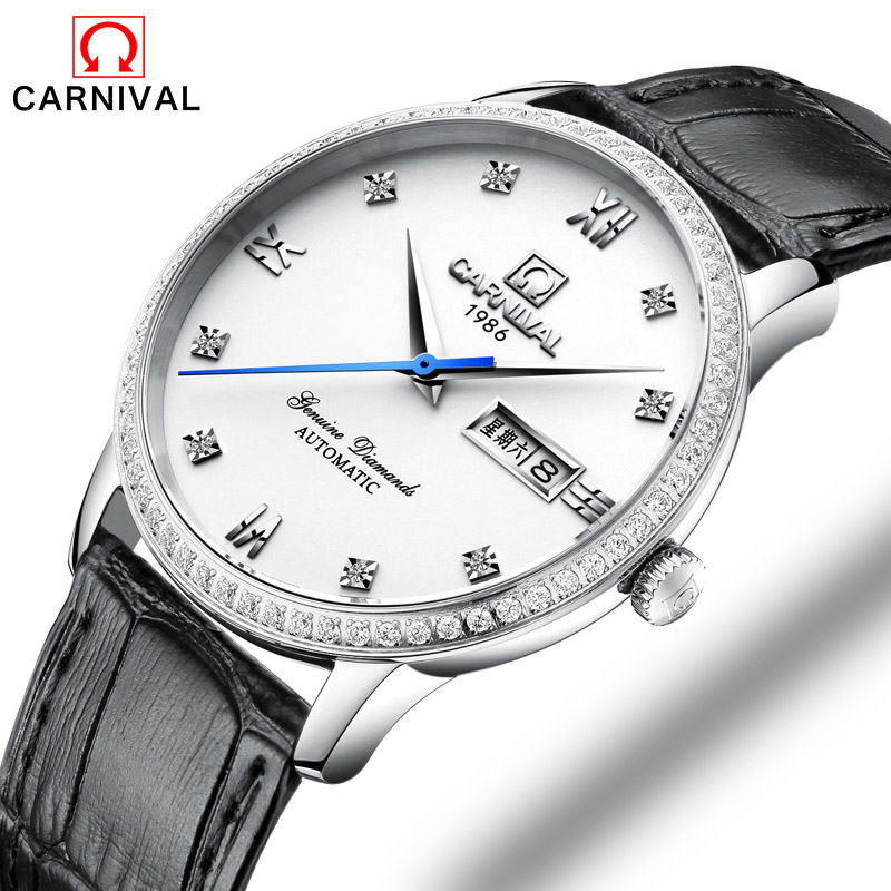 Carnival Men Watch Top Brand Luxury Automatic Male Clock Calfskin Band Day And Date Display Black Lens Mechanical Watches Hot Sa carnival men watch top brand luxury automatic male clock calfskin band day and date display black lens mechanical watches hot sa