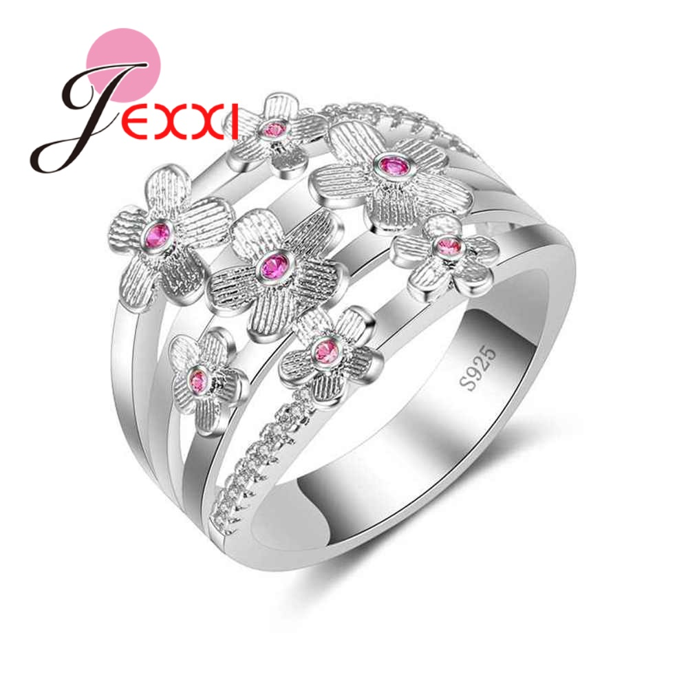JEXXI Special Design 3 Row Fashion Hollow Ring 925 Sterling Silver Flower Jewelry Inlaid Rose Red Clear Zircon New Women Bague