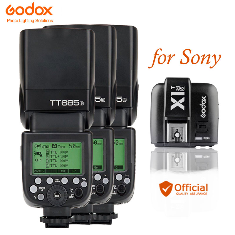 3 x Godox TT685S TTL HSS GN60 Speedlite Flash for Sony A7 II A7R II A7S II A6300 + X1T-S TTL 2.4G Wireless Trigger Transmitter godox x1t s ttl 2 4g wireless trigger for sony 2x xtr 16s flash receiver for v850 v860 c v850ii v860iic v860n v860ii f v850ii