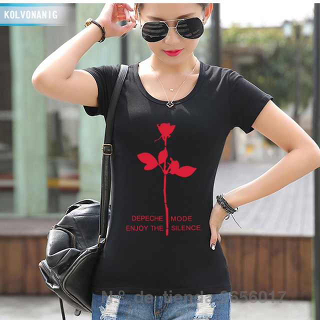 2019 Summer Women\\u0027s T Shirt Depeche Mode Fashion Printing T,Shirt  Enjoy The Silence Flower For Girls Slim Hip Hop Swag Tshirts