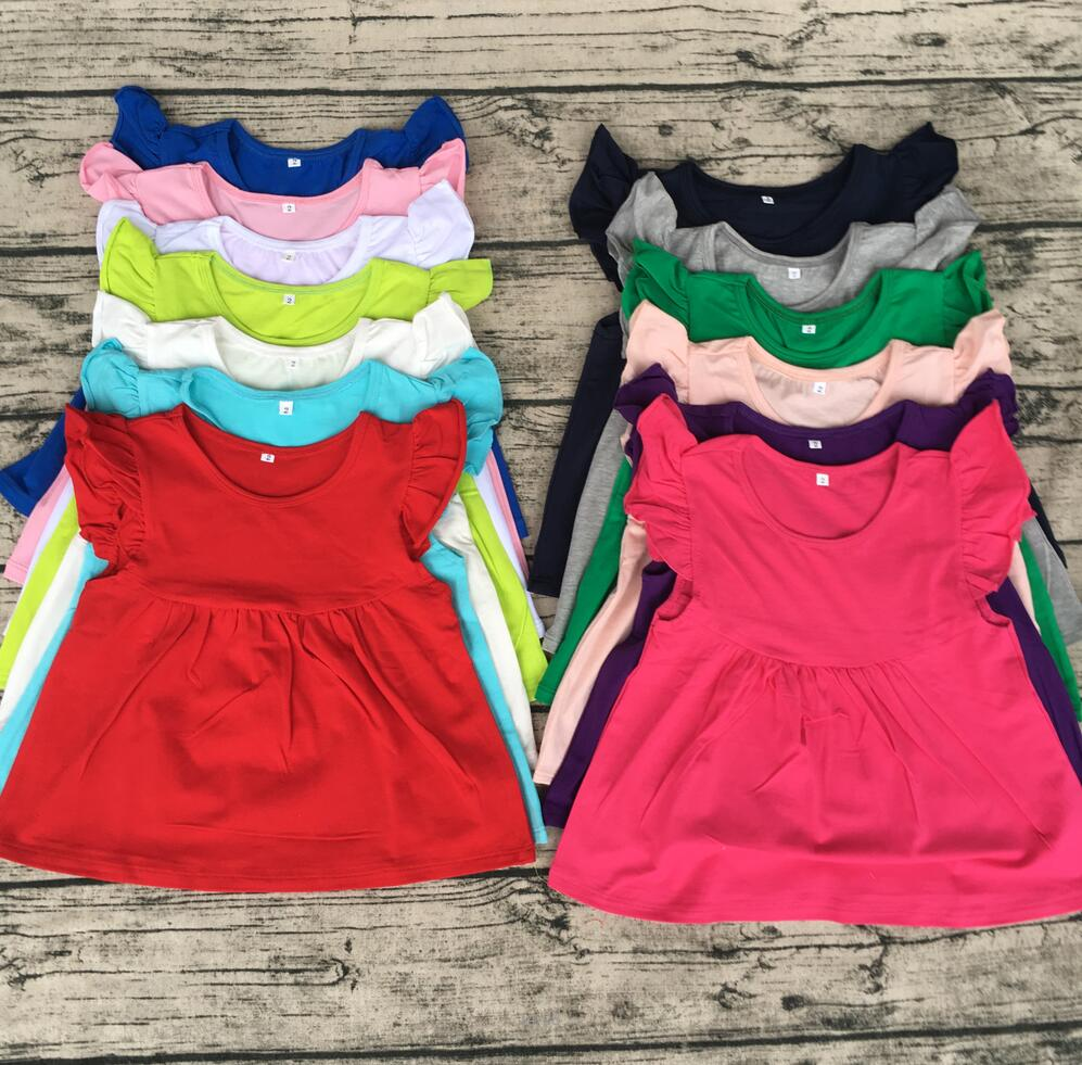 da8f282c0ae Wholesale childrens boutique clothing kid flutter cap sleeves top pearl  dress boutique solid cute girl t