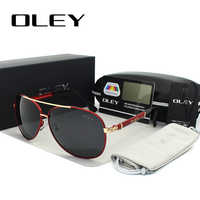 OLEY luxe lunettes de soleil hommes polarisées classique pilote lunettes de soleil accessoires de pêche conduite lunettes gafas de sol zonnebril mannen